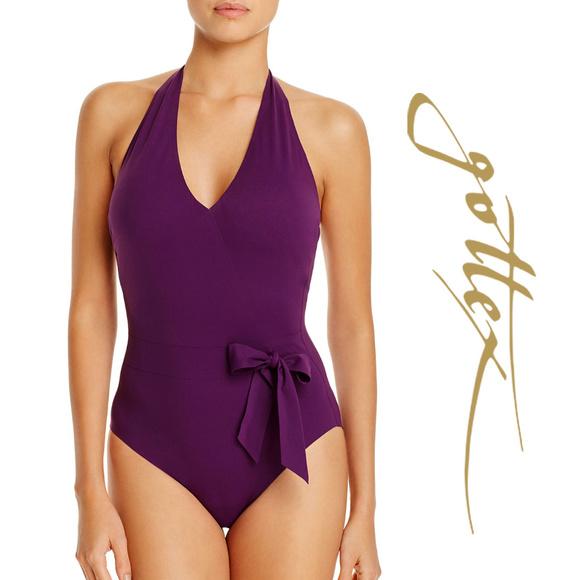 eea63ecc6d579 Au Naturel V-Neck Halter Surplice Natural Swimsuit